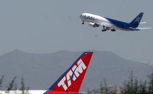 Fotografias de aviones LAN Chile en la loza del aeropuerto de Santiago