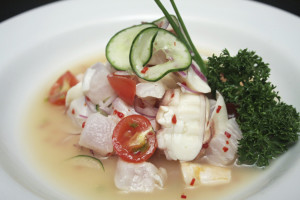 Ceviche (also spelled as cebiche or seviche) is a citrus-marinated seafood